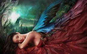 Картинка грусть, взгляд, крылья, фея, отдыхает, красивая девушка, легенды, меланхолия, очарование, легкая грусть, утслость, фантастический арт, …