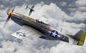 Картинка ВВС США, воздушный бой, North American P-51 Mustang, американский одноместный истребитель, Focke-Wulf Fw 190 Würger