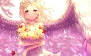 Картинка роза, ангел, девочка