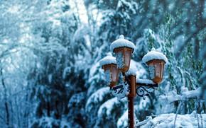 Картинка зима, снег, фонарь