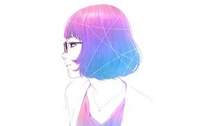 Картинка стрижка, очки, белый фон, профиль, челка, розовые волосы, портрет девушки, Илья Кувшинов, цепочка на шее