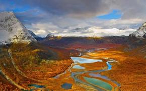 Картинка природа, ландшафт, Швеция, Sweden, Sarek National Park, Rapadalen, Национальный Парк Сарек, Долина Рапа, Rapa Valley
