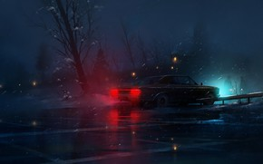 Картинка Зима, Авто, Ночь, Снег, Машина, Car, Night, Snow, by Mehdi Moayedpour, Mehdi Moayedpour, The Old ...