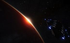 Картинка Огни, Звезды, Планета, Космос, Корабль, Elite Dangerous