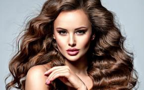 Картинка девушка, волосы, рука, макияж, прическа, локоны, Valua Vitaly