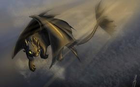 Картинка фэнтези, арт, дракончик, Беззубик, Как приручить дракона, ночная фурия
