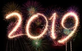 Картинка ночь, огни, салют, colorful, Новый Год, happy, night, New Year, fireworks, 2019