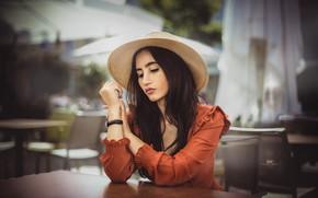 Картинка девушка, шляпа, платье, брюнетка, столик, Tasi Photography