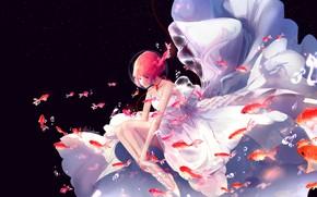 Картинка девушка, рыбки, под водой, свадебное платье, by lluluchwan