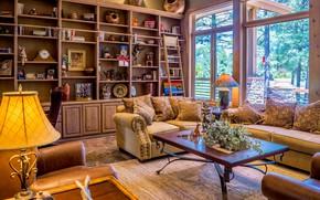 Картинка комната, мебель, лампа, подушки, окно, кресла, столик, диваны, стенка, гостиная