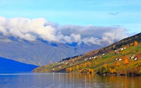 Картинка осень, лес, небо, облака, деревья, пейзаж, горы, туман, уют, озеро, холмы, голубое, склоны, дома, желтые, …