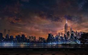 Картинка Закат, Небо, Вечер, Город, Набережная, Стиль, Небоскребы, City, Sky, Style, Sunset, Night, Освещение, Evening, Embankment, …