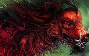 Картинка страх, волк, хищник, шерсть, пасть, клыки, оборотень, красные глаза, злобный взгляд, werewolf, матерый, by Alaiaorax