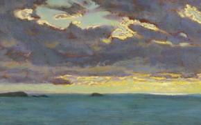 Картинка Arthur Hughes, ок.1909, северное побережье Корнуолла, Вид с мыса Pentire