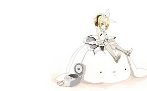 Картинка кролик, девочка, сейбер, Судьба ночь схватки, Fate / Stay Night, пароварка