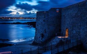 Картинка море, небо, облака, ночь, огни, синева, побережье, Франция, крепость, Brittany, Port-Louis