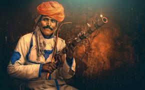 Обои Musician, India, traditional instrument