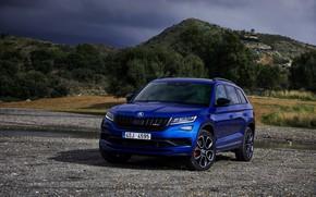 Картинка синий, 2018, кроссовер, SUV, Škoda, Skoda, 2019, Kodiaq RS
