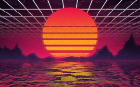 Картинка Солнце, Музыка, Звезда, Фон, 80s, Neon, VHS, 80's, Synth, Retrowave, Synthwave, New Retro Wave, Futuresynth, …