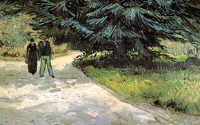 Картинка Винсент ван Гог, The Poet s Garden III, Fir Tree, Couple and Blue, Public Garden …