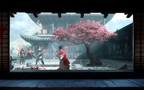 Картинка sword, fantasy, flowers, katana, tree, peach, battle, samurai, artist, weapons, fighting, bow, artwork, warriors, building, …