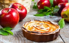 Картинка яблоки, пирог, ваниль, сахарная пудра