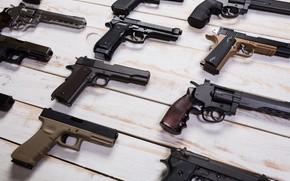 Картинка pistols, wood, variety, firearms, revolvers