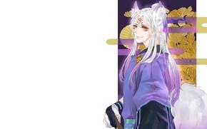 Картинка взгляд, парень, белые волосы, Onmyouji, Onmyoji, Onmyouji (NetEase), Youko, Pixiv Id 12762217