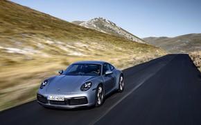 Картинка асфальт, движение, купе, 911, Porsche, Carrera 4S, 992, 2019