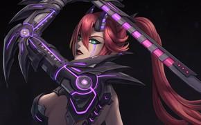 Картинка девушка, фантастика, меч, арт, рога, киборг, cyberpunk, cyborg demon