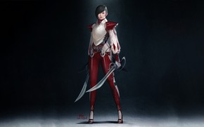 Картинка Girl, Red, Art, Style, Background, Illustration, Minimalism, Characters, Swords, InHyuk Lee, Short hair and Two …