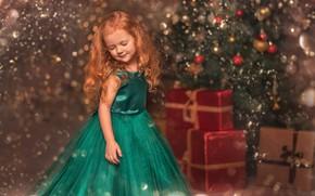 Картинка праздник, игрушки, новый год, девочка, подарки, ёлка, ребёнок, коробки, боке, Козел Марта