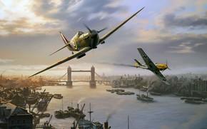 Обои Supermarine Spitfire, Nicolas Trudgian, BF-109, британский истребитель, London Pride, spitfire skirmish