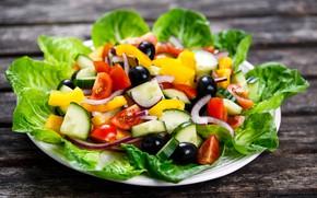 Картинка листья, лук, перец, помидоры, оливки, салат