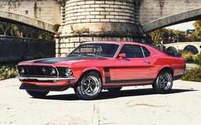 Картинка Mustang, Ford, Авто, Машина, Car, Рендеринг, Retro, Muscle Car, Ford Mustang Boss, Transport & Vehicles, …