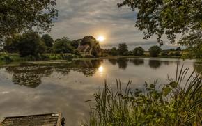 Картинка деревья, закат, река, Англия