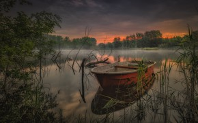 Картинка деревья, туман, река, рассвет, лодка