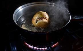 Картинка еда, зубы, конфорка, пасть, газ, кастрюля, картошка, живая, приготовление, варка, картофелина, картофельная акула, газовая плита