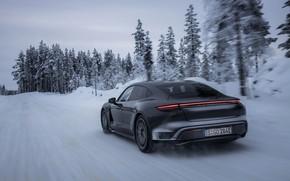 Картинка снег, чёрный, Porsche, зимняя дорога, 2020, Taycan, Taycan 4S