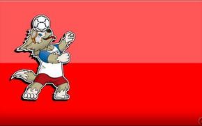 Картинка Мяч, Спорт, Футбол, Фон, Волк, Россия, 2018, ФИФА, FIFA, ЧМ 2018, Маскот, Забивака, Талисман, Чемпионат …