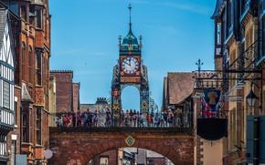 Картинка город, часы, Великобритания, Честер, Chester, Eastgate Clock