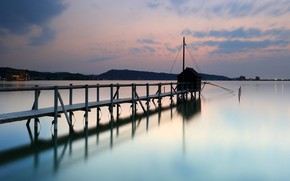 Картинка небо, облака, огни, озеро, берег, дома, вечер, причал, Japan, Lake Togo, Tottori, San'in
