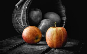 Картинка осень, яблоки, урожай, ведро