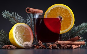 Картинка стакан, стол, фон, лимон, новый год, рождество, орех, напиток, корица, боке, бадьян, грецкий, хвойные ветки, ...