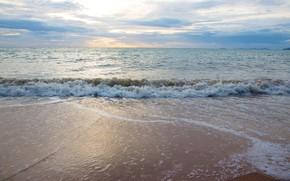Обои песок, море, волны, пляж, лето, summer, beach, sea, seascape, sand, wave