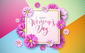 Картинка цветы, розовые, happy, 8 марта, pink, flowers, женский день, 8 march, women's day