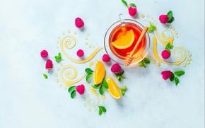 Обои листья, малина, узор, лимон, чай, еда, натюрморт, мёд