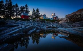 Обои вода, деревья, отражение, скалы, маяк, Maine, Мэн, Pemaquid Point Lighthouse, Bristol, Бристоль