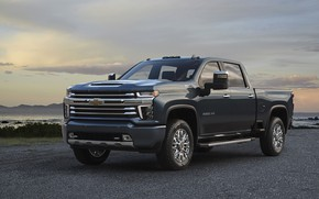 Картинка Chevrolet, пикап, на берегу, Silverado, High Country, 2020, 2500 Heavy Duty