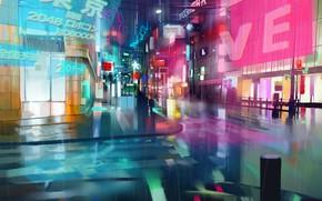 Картинка город, будущее, дождь, cyberpunk